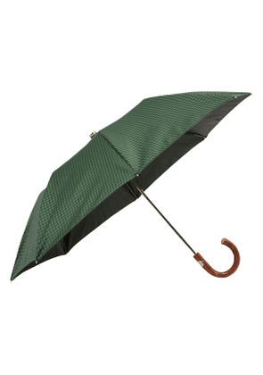 Grey and Blue Houndstooth and Wood Folding Umbrella