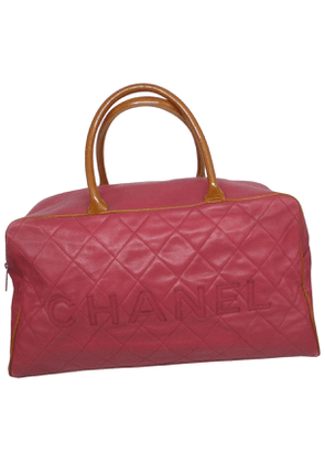 Chanel  red leather travel bag