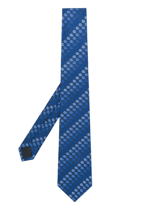 Gucci double G logo embroidered tie - Blue