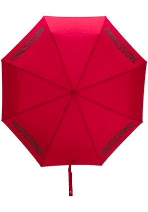 Moschino logo print umbrella - Red