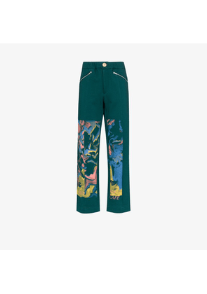 Bethany Williams Mens Green Butterfly Café Organic Cotton Sweatpants