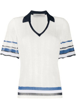 Golden Goose scalloped-cuff knitted polo shirt - White