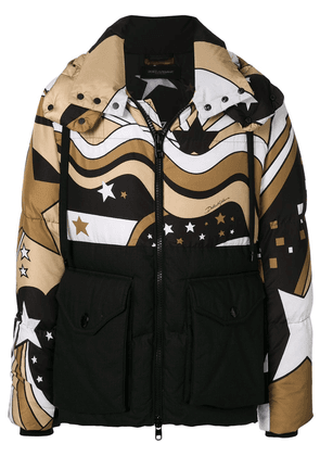 Dolce & Gabbana padded star print coat - Brown