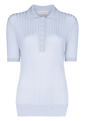 Lee Mathews ribbed polo top - Blue