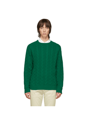BEAMS PLUS Green Cable Knit Sweater