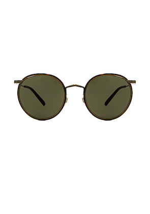 Oliver Peoples Casson Sunglasses in Antique Gold & Dark Mahogany - Black. Size all.