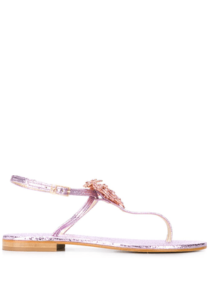 Glitter Leather Thong Sandals