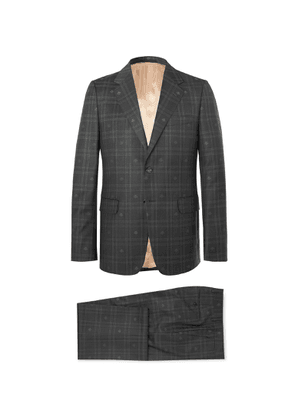 Gucci - Slim-Fit Embroidered Prince of Wales Checked Wool Suit - Men - Gray