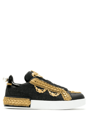 Dolce & Gabbana embellished lace-up sneakers - Black