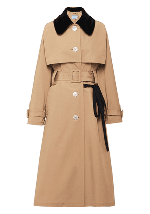 Prada single-breasted belted trench coat - NEUTRALS