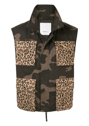 Ports V combined camouflage-print vest - Green