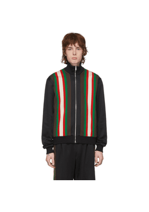 Gucci Black Jersey Zip-Up Sweater