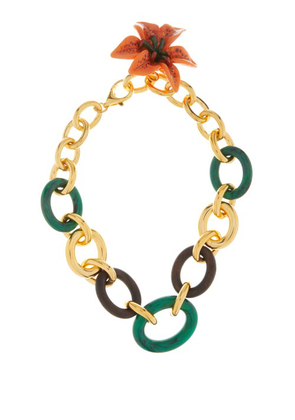 Dolce & Gabbana - Flower Pendant Cable-chain Necklace - Womens - Green Multi