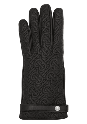 Burberry Cashmere-lined Quilted Monogram Lambskin Gloves - Black
