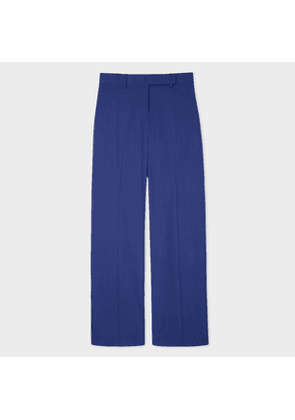 Women's Straight-Leg Indigo Wool Trousers