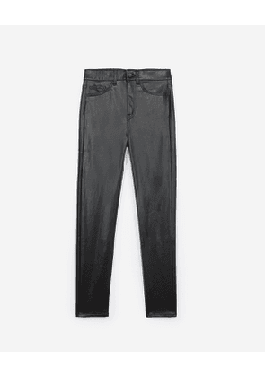 The Kooples - Fitted jean-style black leather trousers - WOMEN
