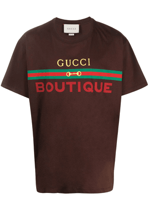 Gucci Gucci Boutique print oversize T-shirt - Brown