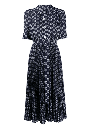 Prada geometric print pleated dress - Blue