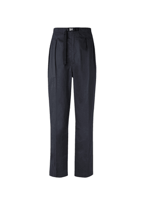 Chimala - Tapered Belted Pleated Cotton-poplin Trousers - Black