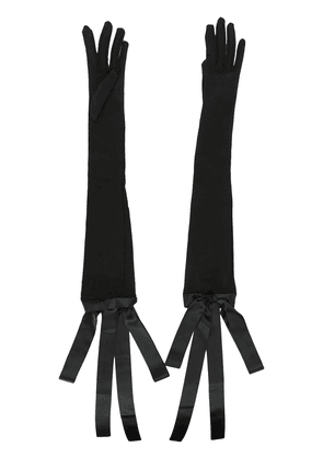Isabel Sanchis silk bow-tie opera gloves - Black