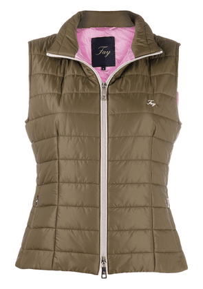 Fay embroidered logo gilet - Green