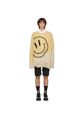 Raf Simons Yellow and Beige Oversized Collage Sweater