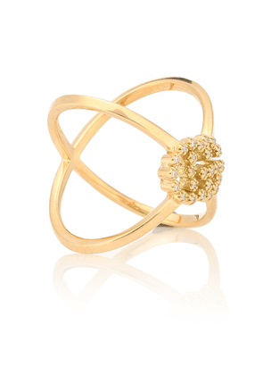 GG Running X 18kt gold ring with diamonds