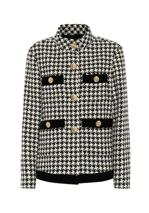 Houndstooth wool-blend jacket