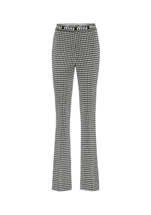 Houndstooth wool-blend flared pants