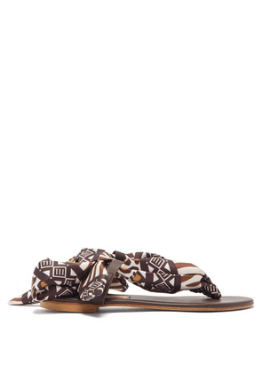 Avec Modération - Curacao Leopard-print Silk-twill Sandals - Womens - Brown White