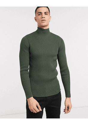 ASOS WHITE muscle fit jumper with high neck in khaki-Green