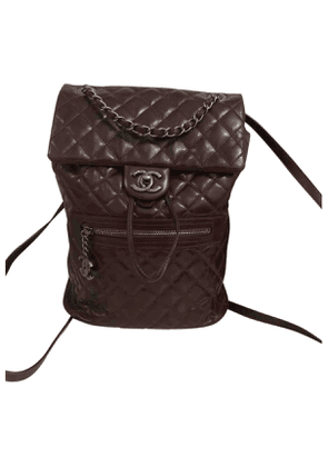 Chanel timeless/classique burgundy leather backpacks