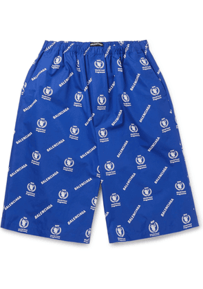 Balenciaga - World Food Programme Oversized Logo-Print Cotton Shorts - Men - Blue