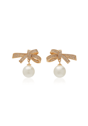 FALLON Gold-Tone Brass, Crystal And Pearl Bow Drop Earrings