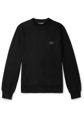 DOLCE & GABBANA - Logo-Appliquéd Loopback Stretch-Cotton Jersey Sweatshirt - Men - Black - IT 46