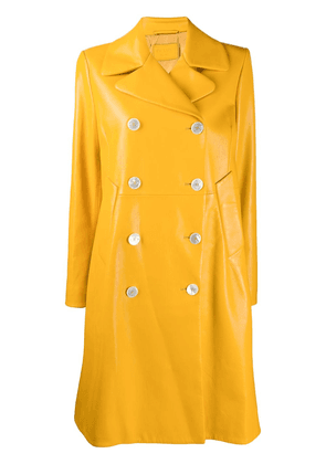 Prada double-breasted leather coat - Yellow
