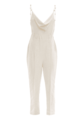 Silk Jumpsuit W/ Mother Of Pearl Detail