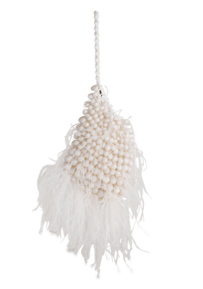 Dory Beaded Feather Clutch