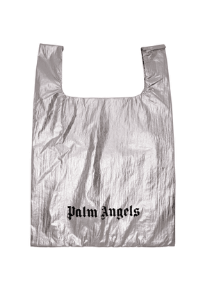 Palm Angels Silver Shiny Shopping Tote