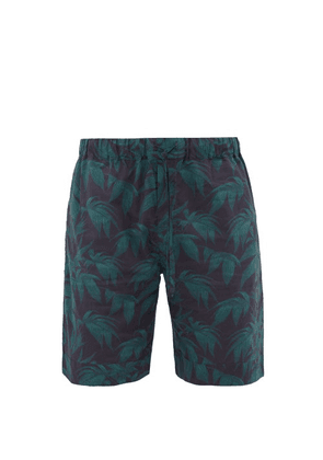 Desmond & Dempsey - Byron-print Cotton Pyjama Shorts - Mens - Navy Green