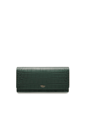 Mulberry Continental Wallet in Mulberry Green Matte Croc