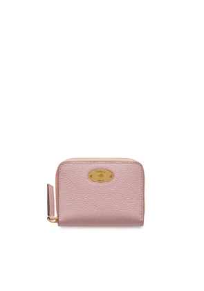 Mulberry Plaque Small Zip Around Purse in Powder Pink Small Classic Grain