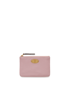 Mulberry Plaque Small Zip Coin Pouch in Powder Pink Small Classic Grain
