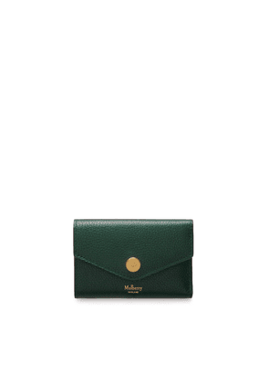 Mulberry Press Stud Folded Multi-Card Wallet in Mulberry Green Small Classic Grain