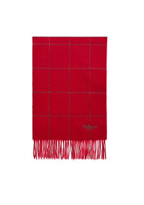 Mulberry Small Windowpane Check Lambswool Scarf in Rouge Red and Dark Grey Lambswool