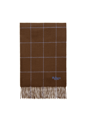 Mulberry Small Windowpane Check Lambswool Scarf in Ebony and Regatta Blue Lambswool