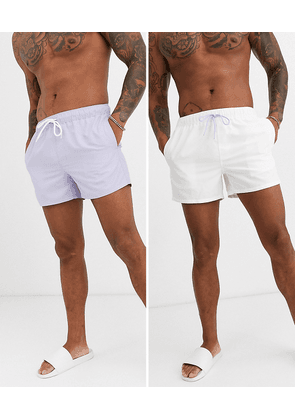ASOS DESIGN 2 pack swim short in lilac and white short length save-Multi