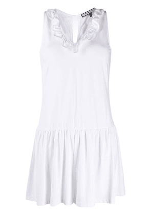 Fisico ruffle-trimmed cotton playsuit - White
