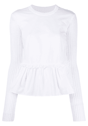 Mm6 Maison Margiela ribbed knit peplum top - White