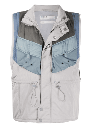 C2h4 Memory Superviser panelled quilted gilet - Grey